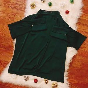 Zara Basic High to Low Long Sleeve Blouse Green L